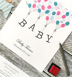 Cute Baby Shower Guest Book With Floating Letters Fingerprint