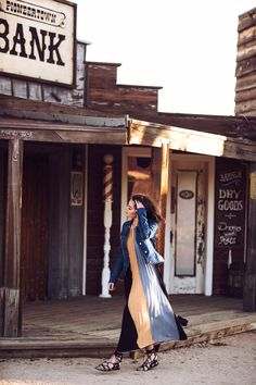 """#ESCADAEscapes: Denim is a must in an """"Old West"""" town. Shop our """"Dissi"""" dress and """"J744"""" jacket now on www.escada.com"""