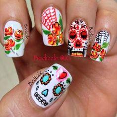 Dia de los Muertos Nail Art by Bedizzle......