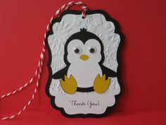 12 Penguin Birthday Party Favor Tags Winter by Hope2Create on Etsy