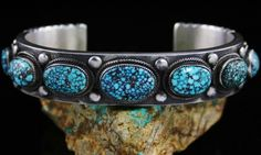 Calvin Martinez Rare Gem Grade Red Web Kingman Turquoise Ingot Row Bracelet #CalvinMartinez #Cuff