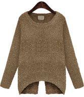 Khaki Long Sleeve Split Metallic Yoke Sweater $29.17