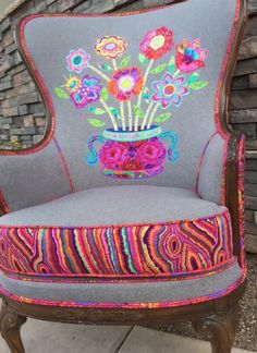 """Reupholstered chair by Patricia Benner of Fiber and Fire. """"Potpourri"""" applique…"""