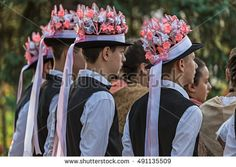 """TIMISOARA,ROMANIA-SEPTEMBER 24,2016:Group of youth German dancers from Banat, Romania dressed in folk costumes, present at traditional event ,,Festival of ethnics"""" organized by the City Hall Timisoara"""