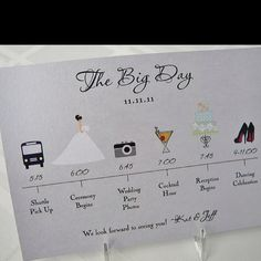 Wedding day time line to put in guest welcome bags