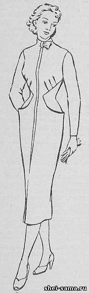 Плате оригинального покроя с одним швом по середине переднего полотнища - Сто фасонов женского платья  - Всё о шитье