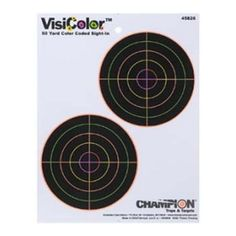 Champion VisiColor Double Bulls Target Pack of Champion discolor 5 inch paper 45826 double Bullseye target pack of Hunting range gear targets. Made of the highest quality materials Shooting Targets, Shooting Gear, Shooting Range, Paper Targets, Indoor Range, Only At Walmart, Shooting Accessories, Champion, Eye