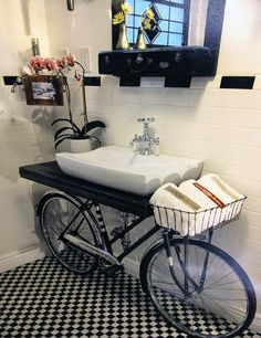 Unique Bathroom Design with Recycled Bicycle Sink, Discover home design ideas, furniture, browse photos and plan projects at HG Design Ideas - connecting homeowners with the latest trends in home design & remodeling Bicycle Sink, Old Bicycle, Best Bathroom Designs, Modern Bathroom Design, Bathroom Ideas, Bathroom Sinks, Washroom, Bathroom Interior, Diy Casa