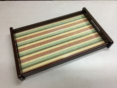Wooden tray with colour leather inside