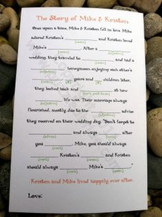 Love Story Wedding Mad Lib. Would be fun for guests to do while waiting for the wedding party to make their entrance