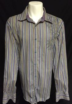 Atti Purple Blue White Striped XXXL Long Sleeve Button Front Shirt 3XL #Atti #ButtonFront