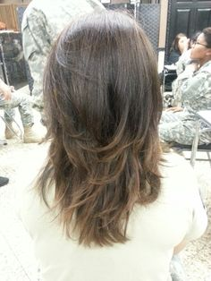 Long layered hair cut I did in school on soldier day:)