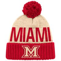 Adidas Natural & Red Cuffed Beanie With Pom