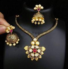 Designer Kundan Necklace Designs, Designer Necklace with Jhumkas, Kundan Necklace set and Jhumkas.