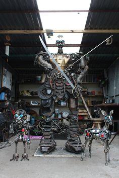 made of car scrap. Samurai made in Kristof Shakti. Katsuie Shibata from Fukui. Japanese Warrior. Game warrior  Kristof Shakti Fabric of Sculptures.
