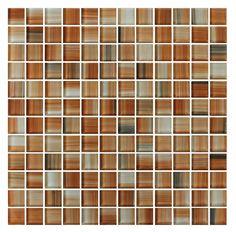 Sunset Beach Orange Hand Painted 1x1 Glass Mosaic Tiles