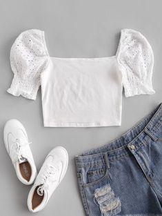 Eyelet Milkmaid Blouse - Fashion - Womens - Tops - Blouses - #fashion #clothing #blouse Daily Fashion, Trendy Fashion, Fashion Outfits, Style Fashion, Cute Blouses, Blouses For Women, Bikini Volante, Plaid Pleated Mini Skirt, Bikini Push Up