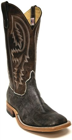 New to STT -- Anderson Bean Men's Black Imitation Caiman Boots | These Anderson Bean® imitation Caiman men's boots are a beautiful chocolate brown color with white and brown stitching on the shaft. | SouthTexasTack.com