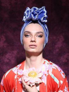 Light Blue silk turbante