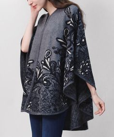 Loving this Gray Floral Ruana on #zulily! #zulilyfinds
