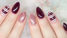 Burgundy Almond Nails
