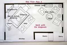 Ask the Blogger: How Do You Give Difficult Rooms a Spacious Plan? [layout AFTER, possibility #3] (HomeGoods)