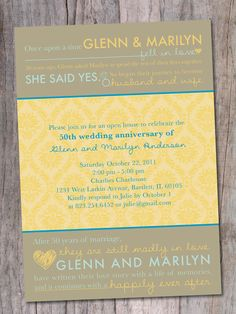 Anniversary Party Invitation, 20th, 30th, 40th, 50th, 60th - Love Story. $15.00, via Etsy.