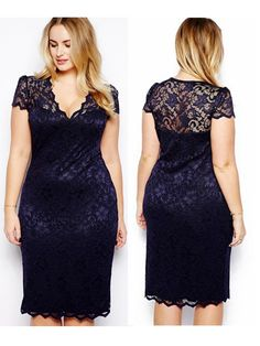 Sexy Women Plus Size Lace Short Sleeve Party Evening Night Gowns Dress
