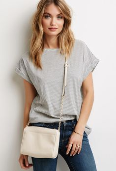 Crosshatched Faux Leather Crossbody via F21