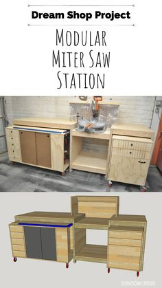 Woodworking Projects That Sell Dream Shop Project - Modular Miter Station. Build the ultimate miter saw station that works for you! Projects That Sell Dream Shop Project - Modular Miter Station. Build the ultimate miter saw station that works for you! Workbench Plans, Woodworking Workbench, Woodworking Furniture, Woodworking Machinery, Plywood Furniture, Woodworking Glue, Workbench Stool, Woodworking Accessories, Industrial Workbench