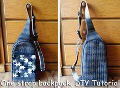 Sling Shoulder Bag. Рюкзак Patchwork. http://www.handmadiya.com/2015/08/sling-shoulder-bag-patchwork.html