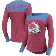 5302ea0ac9d41 Colorado Avalanche Touch by Alyssa Milano Women s Blindside Thermal Long  Sleeve Tri-Blend T-Shirt – Burgundy
