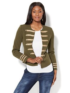 Shop Military-Style Jacket - Olive. Find your perfect size online at the best price at New York & Company.