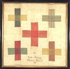 This splendid minimalistic darning sampler was made by Judith Jennings aged eleven, born in 1795 in   England. In its simplicity the sampler has a very modern look!