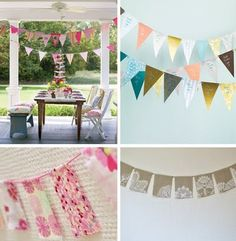 """DIY Party Flags: """"After you've cut out several flags, sew the top of the flag onto the white ribbon with a few delicate loops. (The scrapbook paper flags will stay on the ribbon better when sewed on rather than taped or glued, and there won't be any messy residue!) Repeat the process until you have a long string of flags and hang up the banner."""""""