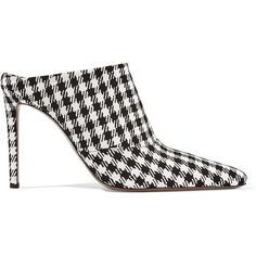 Altuzarra Davidson houndstooth canvas mules ($420) ❤ liked on Polyvore featuring shoes, heels, mules, slip-on shoes, high heel mule shoes, slip on mules, mule shoes and heeled mules shoes