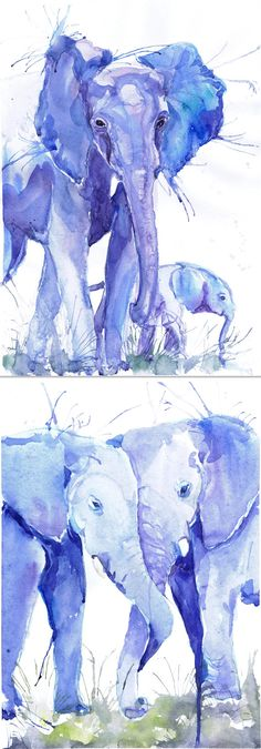 ACEO Art Prints wild animals watercolor ATC Artist by ValrArt