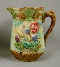 French floral majolica pitcher