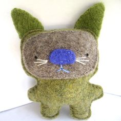 Olive Green Cat  Recycled Wool Plush Toy by sighfoo on Etsy, $16.00