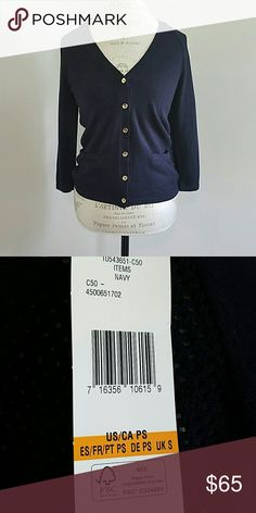 Navy Sweater NWT, navy sweater with gold buttons.  I'm a size small amd this fits perfect.  From Jones New York Petite  $79.00 new!! Jones New York Tops Button Down Shirts