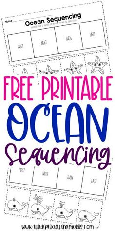 Encourage creative thinking, problem solving and reading comprehension skills with these cut and paste Free Printable Ocean Kindergarten Sequencing Worksheets. Grab yours today! #sequencing #preschool #kindergarten #sequencingworksheets #preschoolworksheets #kindergartenworksheets Sensory Activities Toddlers, Preschool Themes, Kids Learning Activities, Preschool Printables, Preschool Kindergarten, Sequencing Worksheets, Printable Worksheets, Free Printable, Printable Coloring