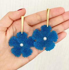 Flower Earrings, Crochet Earrings, Blue Beads, Blue Flowers, Diy, Jewelry, Santiago, Stud Earrings, Jewlery