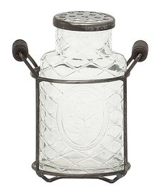 This Antique Beveled Glass Vase & Metal Holder by ZiaBella is perfect! #zulilyfinds