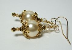Golden Pearl Earrings. Swarovski Gold Pearls and Crystals. by VickieJoesJewels