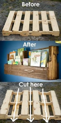20 Brilliant DIY Shelves for Your Home Pallet woods are a versatile DIY project for your home! Give this mini pallet bookshelf a try and add a bit of rustic charm to your home. The post 20 Brilliant DIY Shelves for Your Home appeared first on Pallet Diy. Old Pallets, Wooden Pallets, Pallet Wood, Pallet Benches, Pallet Tables, Pallet Bar, Wooden Pallet Ideas, Pallet Couch, Mini Pallet Ideas