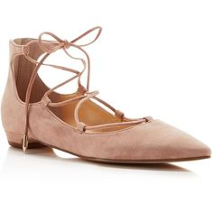 Ivanka Trump Tropica Pointed Toe Lace Up Flats ($84) ❤ liked on Polyvore featuring shoes, flats, old rose, laced up ballet flats, lace up ballet flats, suede lace up flats, pointy toe flats and ballet flat shoes