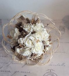 Artificial Ivory Peonies And Roses & Twine Rustic Brides Wedding Flowers Bouquet
