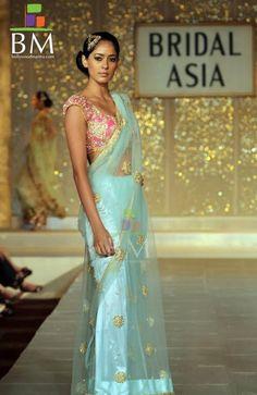 light blue and pink saree