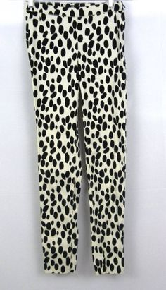 H&M Women's 2 Black & Off White Spotted Dalmation Pants Stretchy #HM #CasualPants
