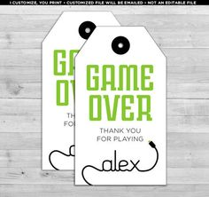 Video Game Party Favors, Video Game Favors, Video Game Party Favor Tags, Gamer Party Favors, Video G